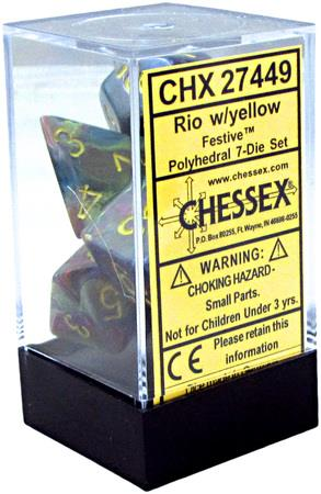 7CT FESTIVE POLY DICE SET, RIO/YELLOW CHX27449