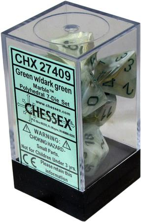 7CT MARBLE POLY DICE SET, GREEN/DARK GREEN CHX27409