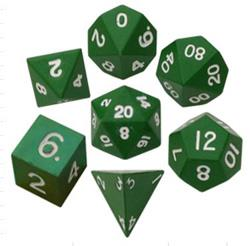 16MM GREEN PAINTED METAL POLYHEDRAL DICE SET MD010