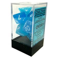 7CT FROSTED POLY DICE SET, CARIBBEAN BLUE/WHITE CHX27416