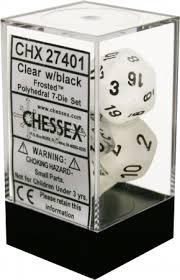 7CT FROSTED POLY DICE SET, CLEAR/BLACK CHX27401