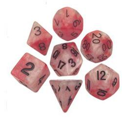 7 COUNT POLY DICE SET, RED-WHITE W/GOLD MD110
