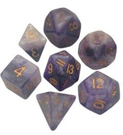 7 COUNT POLY DICE SET, BLUE-WHITE W/GOLD MD120