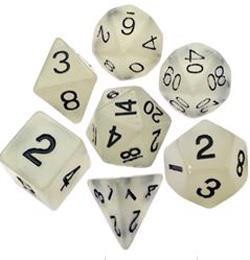 7 COUNT RESIN GLOW POLY DICE SET, CLEAR MD310