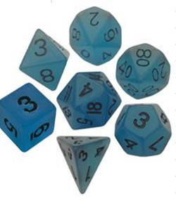 7 COUNT RESIN GLOW POLY DICE SET, BLUE MD302