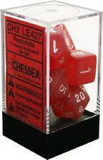 7CT FROSTED POLY DICE, RED/WHITE CHXLE427