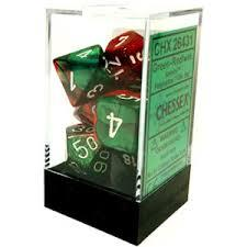7CT GEMINI GREEN-RED W/WHITE DICE SET CHX26431
