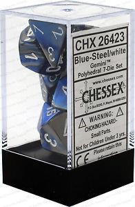 7CT GEMINI BLUE-STEEL W/WHITE DICE SET CHX26423