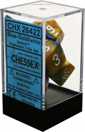 7CT GEMINI BLUE-GOLD W/WHITE DICE SET CHX26422
