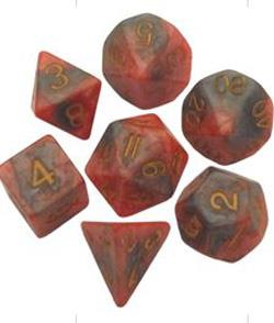7 COUNT POLY DICE SET, ORANGE-BROWN W/GOLD MD149