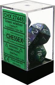 7CT FESTIVE POLY DICE SET, GREEN/SILVER CHX27445