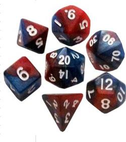 7 COUNT MINI DICE SET: RED/BLUE WITH WHITE NUMBERS MD412