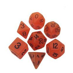 7 COUNT 16MM RESIN GLOW POLY DICE SET, ORANGE MD304