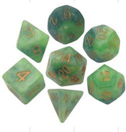 7 COUNT 16MM POLY DICE SET, GREEN-LT GREEN W/GOLD MD155