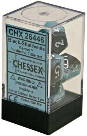 7CT GEMINI BLACK-SHELL W/WHITE DICE SET CHX26446