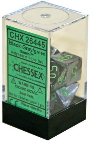 7CT GEMINI BLACK-GREY W/GREEN DICE SET CHX26445
