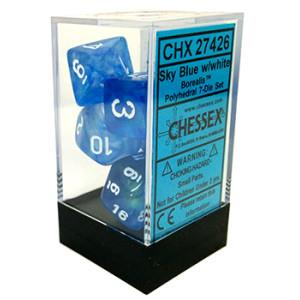 7CT BOREALIS POLY DICE SET, SKY BLUE/WHITE CHX27426