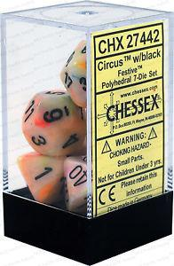 7CT FESTIVE POLY DICE SET, CIRCUS/BLACK CHX27442