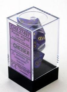 7CT LUSTROUS POLY DICE SET, PURPLE/GOLD CHX27497