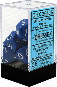 7CT OPAQUE POLY BLUE/WHITE DICE SET CHX25406