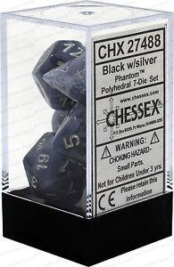 7CT PHANTOM POLY DICE SET, BLACK/SILVER CHX27488