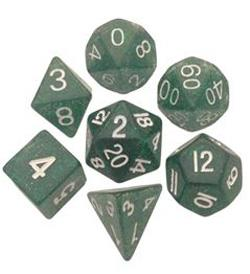 7 COUNT 16MM ETHEREAL GLITTER POLY DICE SET, GREEN MD205