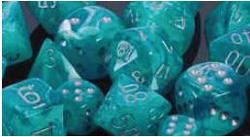 7CT CIRRUS POLY DICE SET, AQUA/SILVER CHX27465